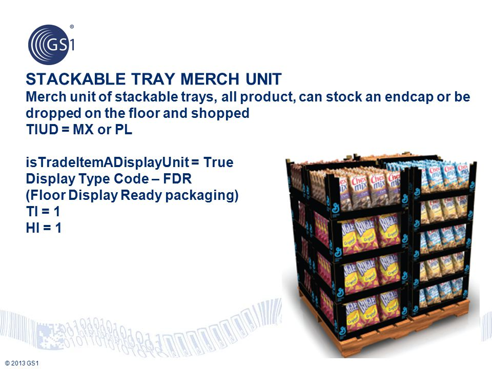 STACKABLE TRAY MERCH UNIT Merch unit of stackable trays, all product, can stock an endcap or be dropped on the floor and shopped TIUD = MX or PL isTradeItemADisplayUnit = True Display Type Code – FDR (Floor Display Ready packaging) TI = 1 HI = 1