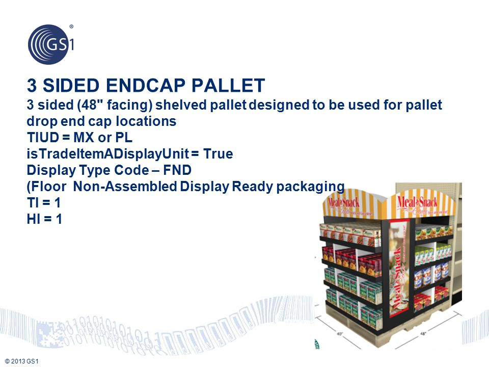 3 SIDED ENDCAP PALLET 3 sided (48 facing) shelved pallet designed to be used for pallet drop end cap locations TIUD = MX or PL isTradeItemADisplayUnit = True Display Type Code – FND (Floor Non-Assembled Display Ready packaging TI = 1 HI = 1