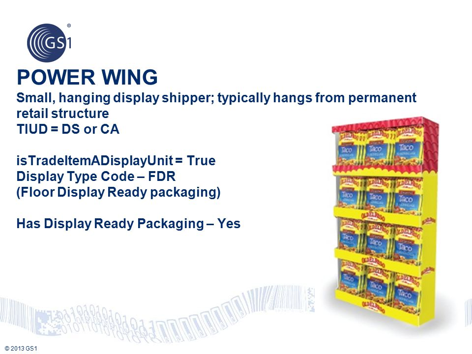 POWER WING Small, hanging display shipper; typically hangs from permanent retail structure TIUD = DS or CA isTradeItemADisplayUnit = True Display Type Code – FDR (Floor Display Ready packaging) Has Display Ready Packaging – Yes