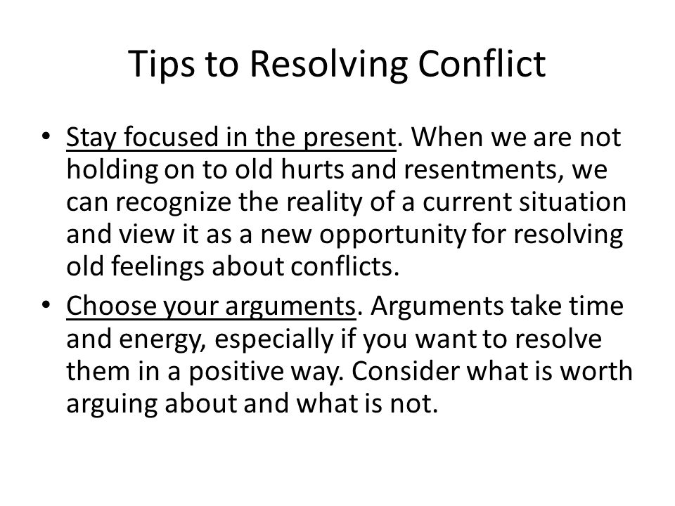 Tips to Resolving Conflict