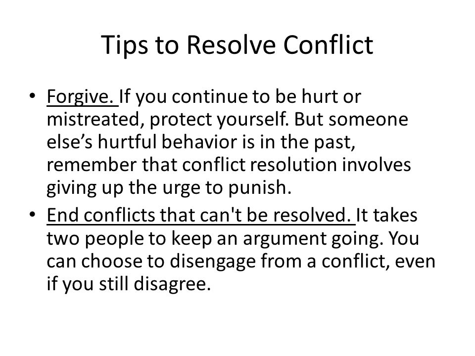 Tips to Resolve Conflict