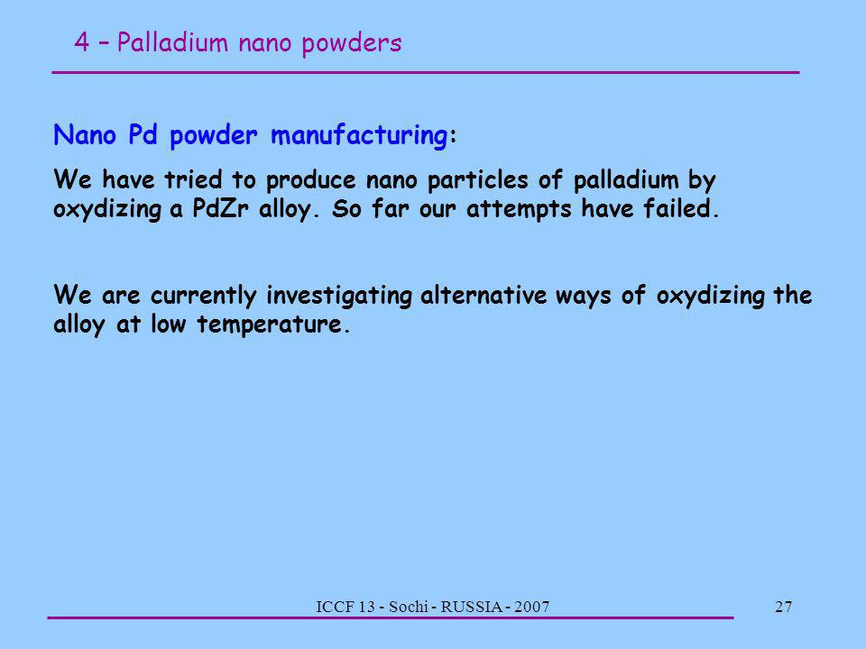 4 – Palladium nano powders