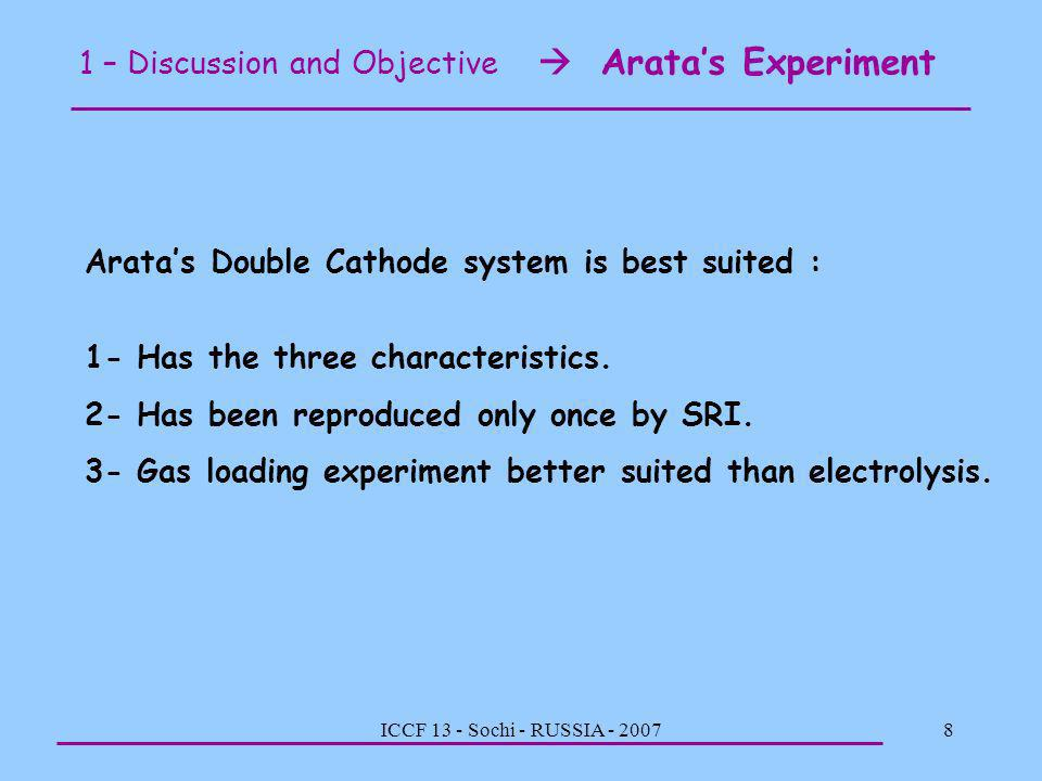 1 – Discussion and Objective  Arata's Experiment