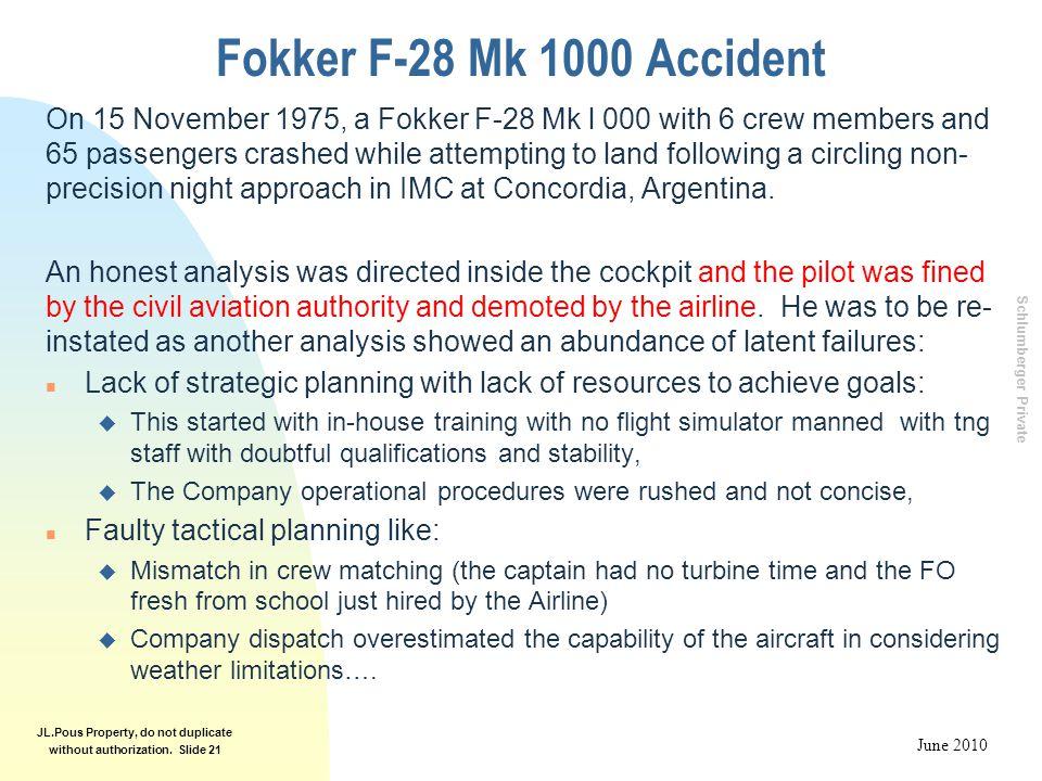 Fokker F-28 Mk 1000 Accident