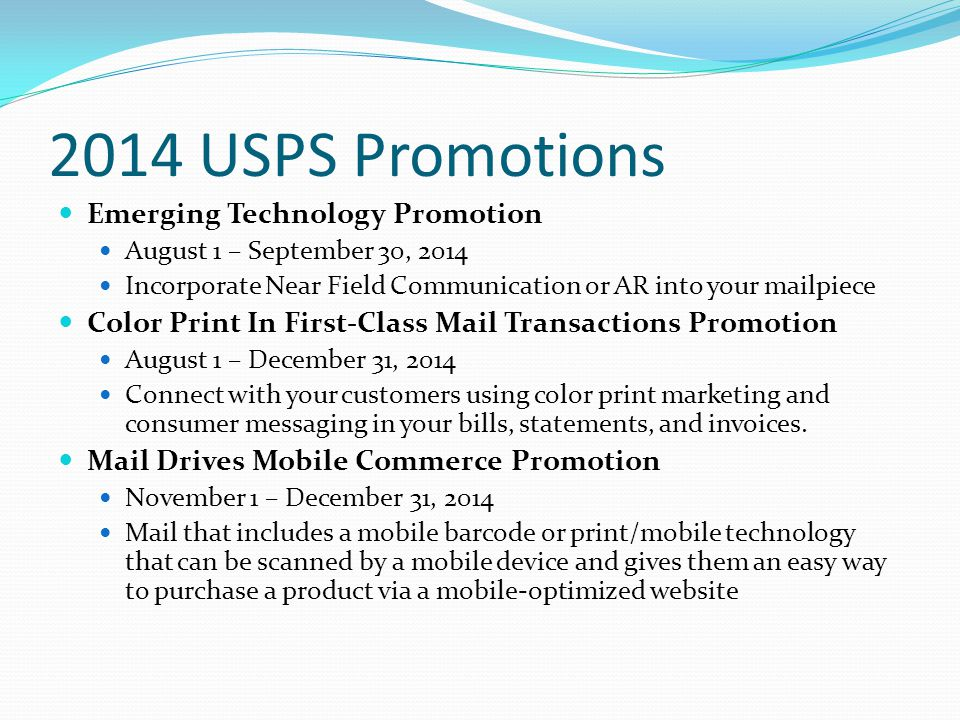 2014 USPS Promotions Emerging Technology Promotion
