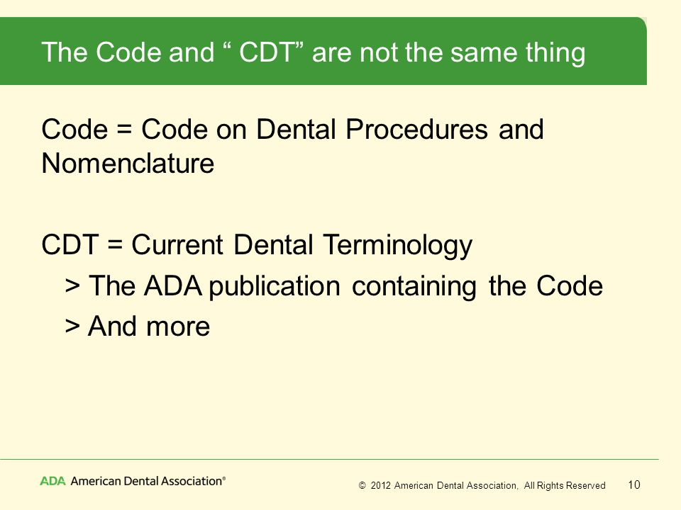 The Code and CDT are not the same thing