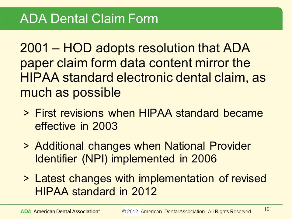 ADA Dental Claim Form