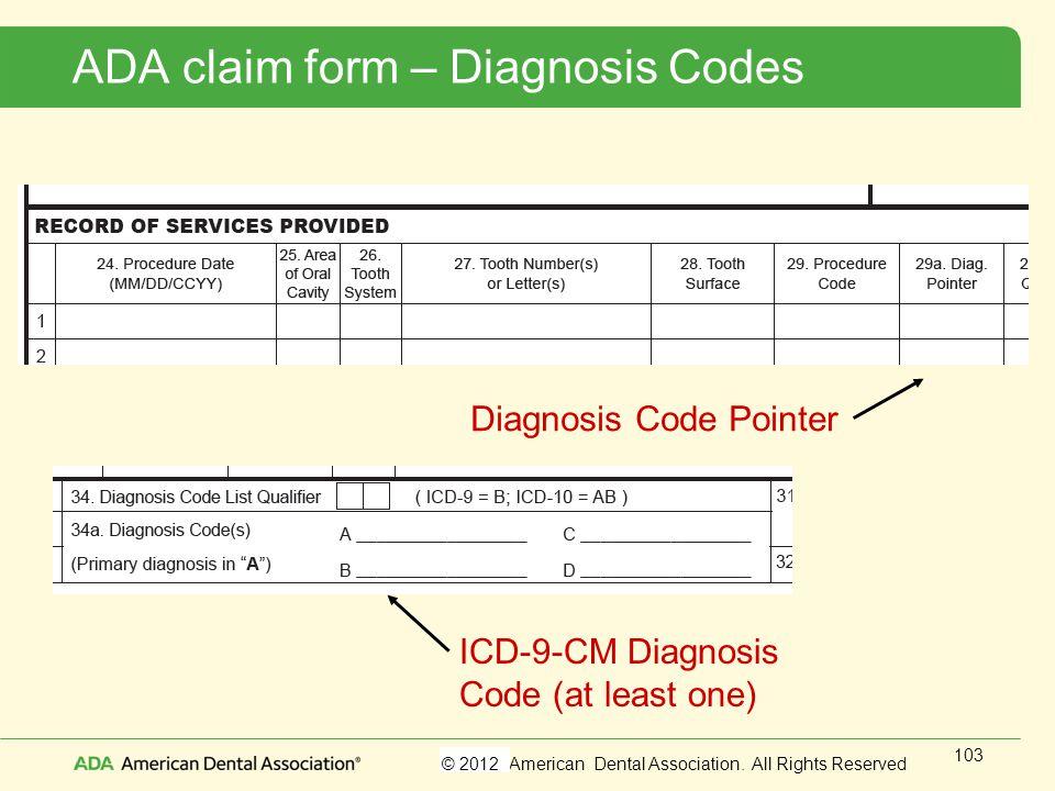ADA claim form – Diagnosis Codes