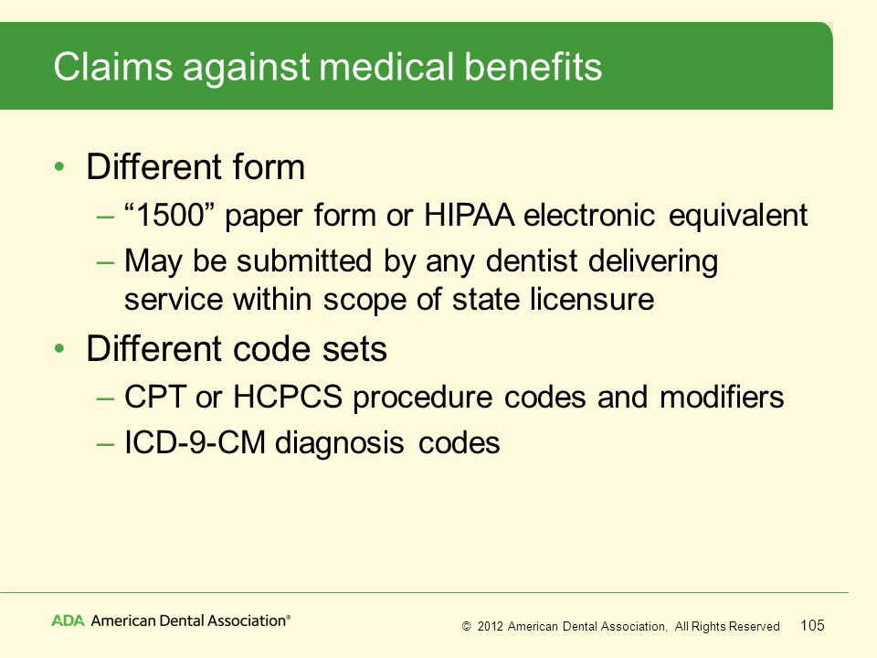 Claims against medical benefits