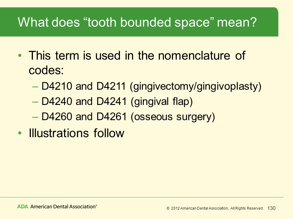 What does tooth bounded space mean