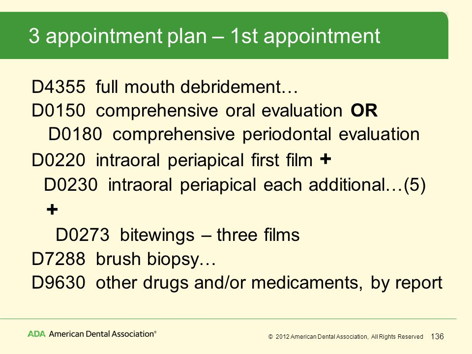 3 appointment plan – 1st appointment