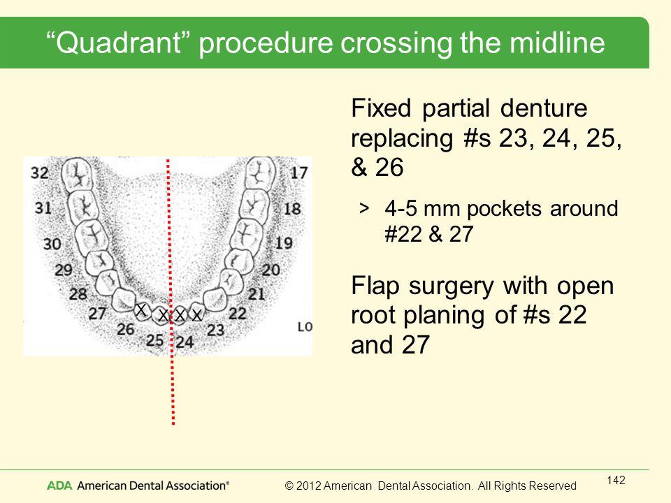 Quadrant procedure crossing the midline