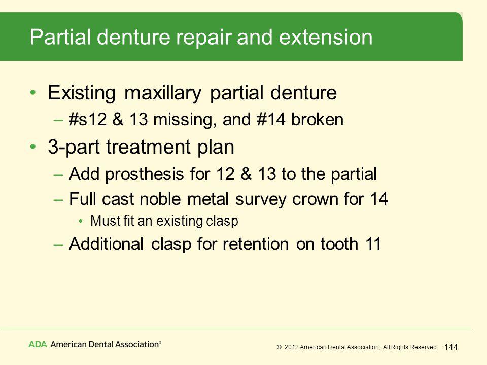 Partial denture repair and extension