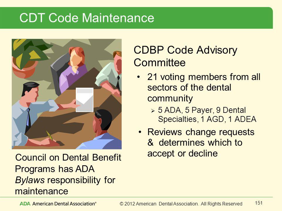 CDT Code Maintenance CDBP Code Advisory Committee