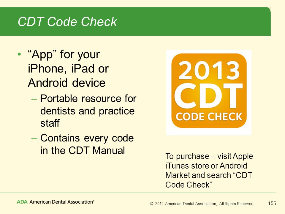 CDT Code Check App for your iPhone, iPad or Android device