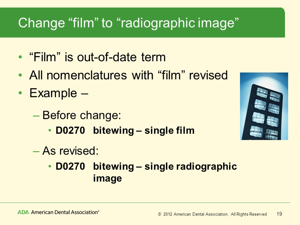 Change film to radiographic image