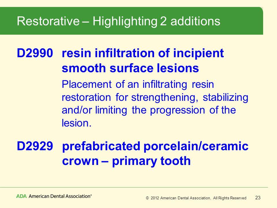 Restorative – Highlighting 2 additions