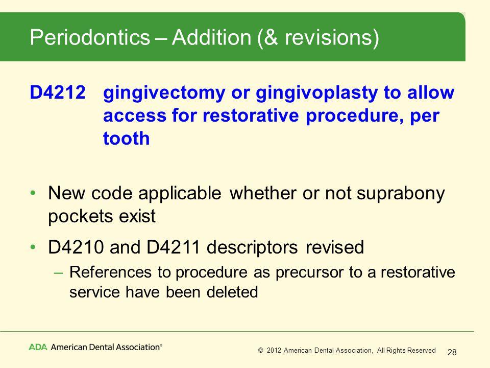 Periodontics – Addition (& revisions)