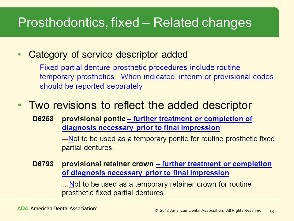 Prosthodontics, fixed – Related changes