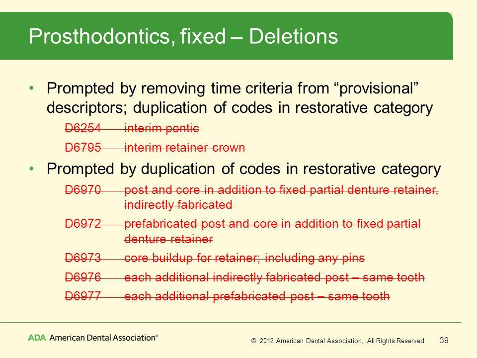 Prosthodontics, fixed – Deletions