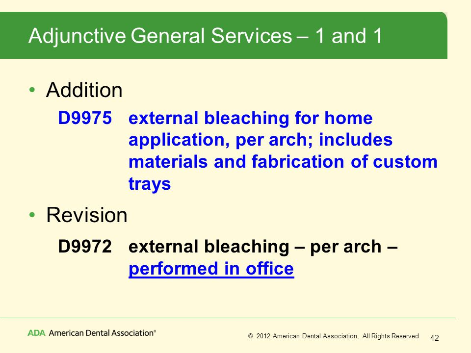 Adjunctive General Services – 1 and 1