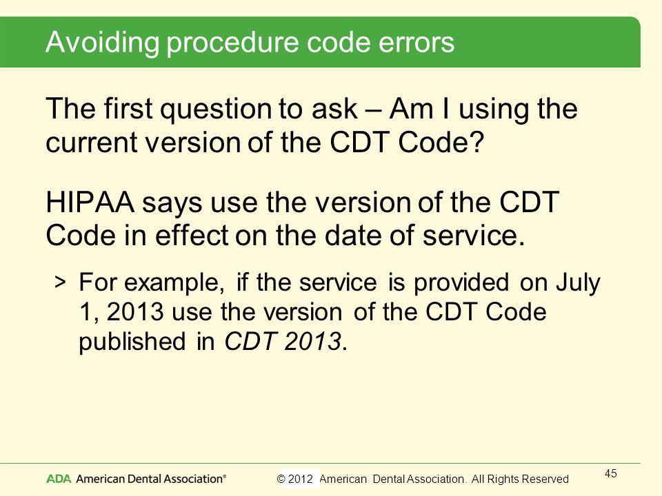 Avoiding procedure code errors