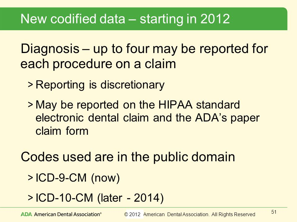 New codified data – starting in 2012