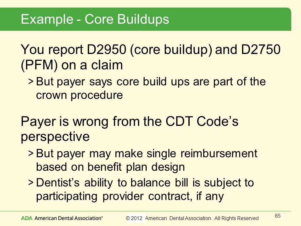 Example - Core Buildups