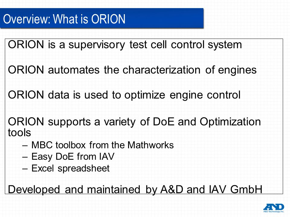 Overview: What is ORION