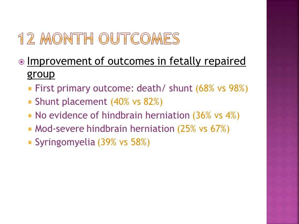 12 month outcomes Improvement of outcomes in fetally repaired group