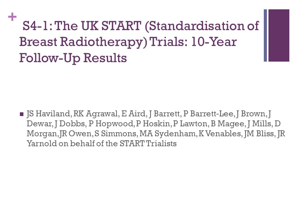 S4-1: The UK START (Standardisation of Breast Radiotherapy) Trials: 10-Year Follow-Up Results