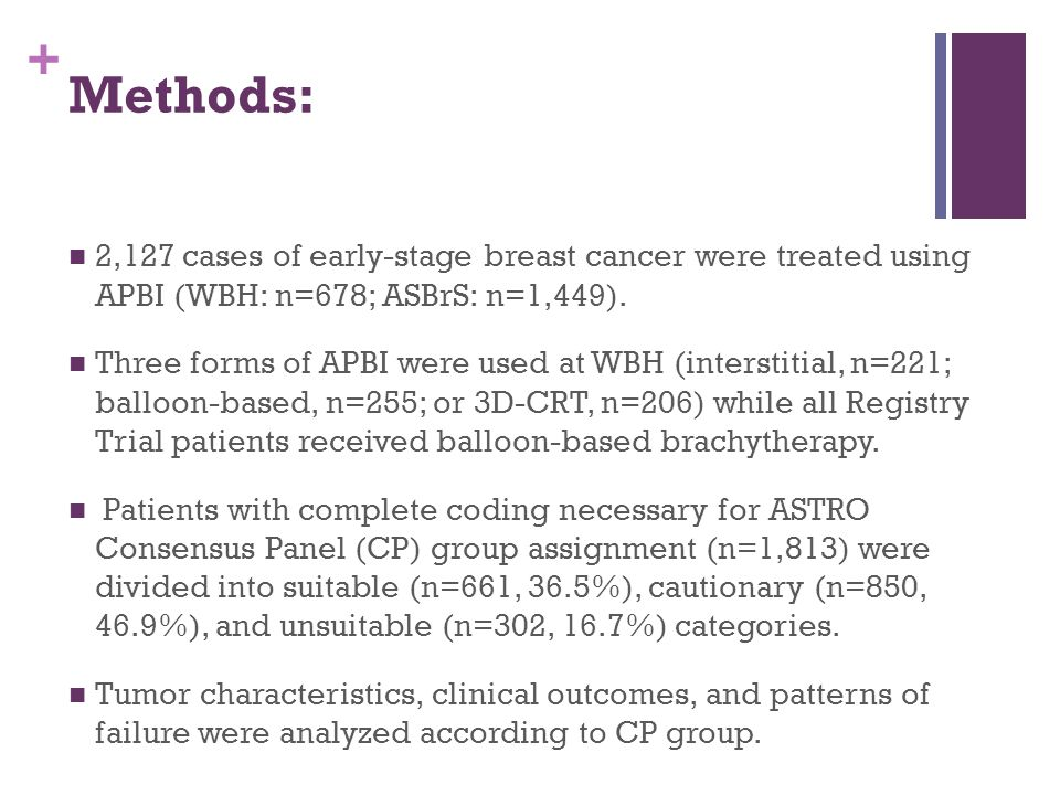 Methods: 2,127 cases of early-stage breast cancer were treated using APBI (WBH: n=678; ASBrS: n=1,449).