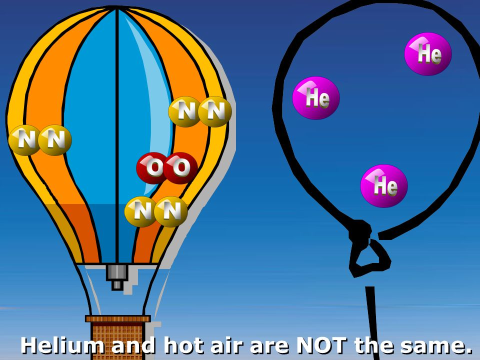 Helium and hot air are NOT the same.