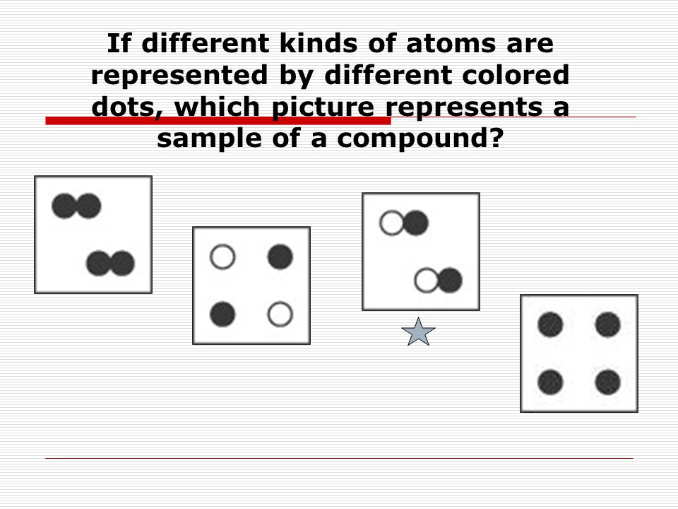 If different kinds of atoms are represented by different colored dots, which picture represents a sample of a compound