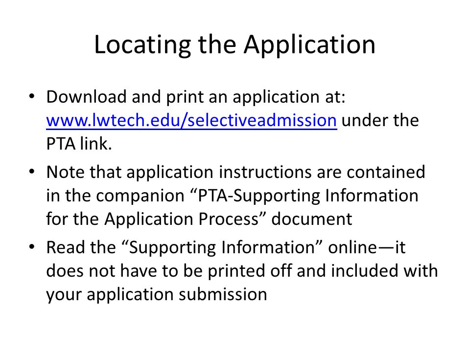 Locating the Application
