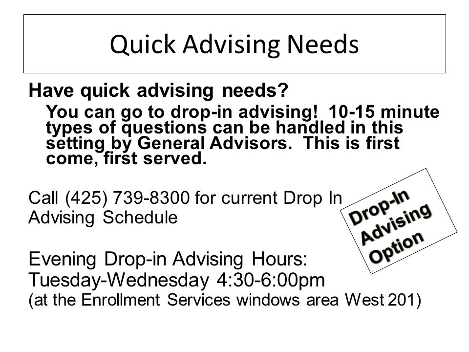 Quick Advising Needs Have quick advising needs