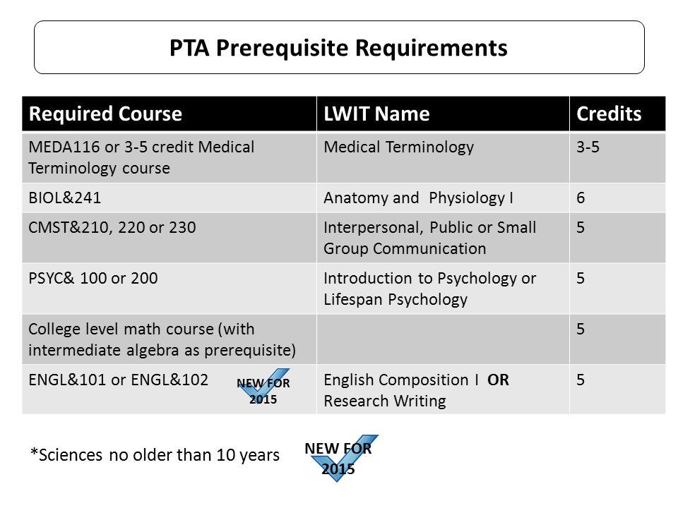 PTA Prerequisite Requirements