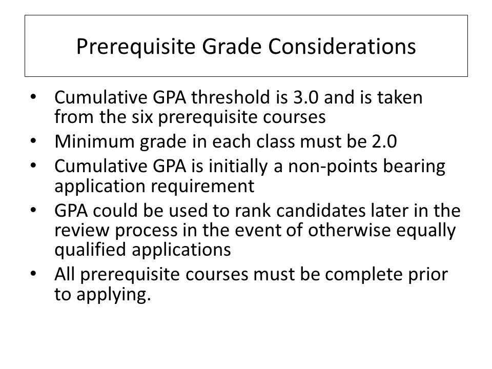 Prerequisite Grade Considerations