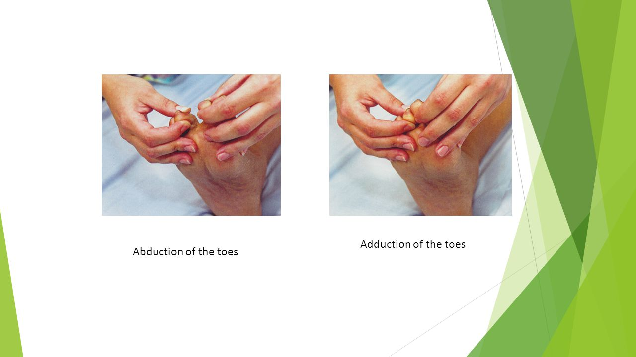 Adduction of the toes Abduction of the toes