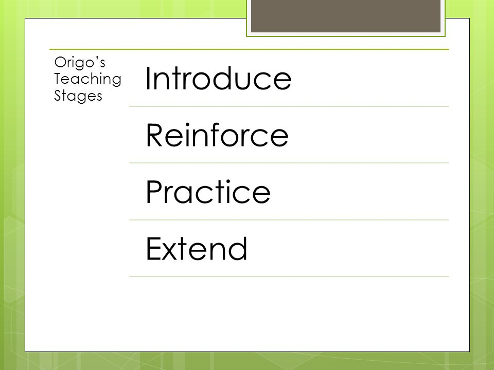 Introduce Reinforce Practice Extend Origo's Teaching Stages