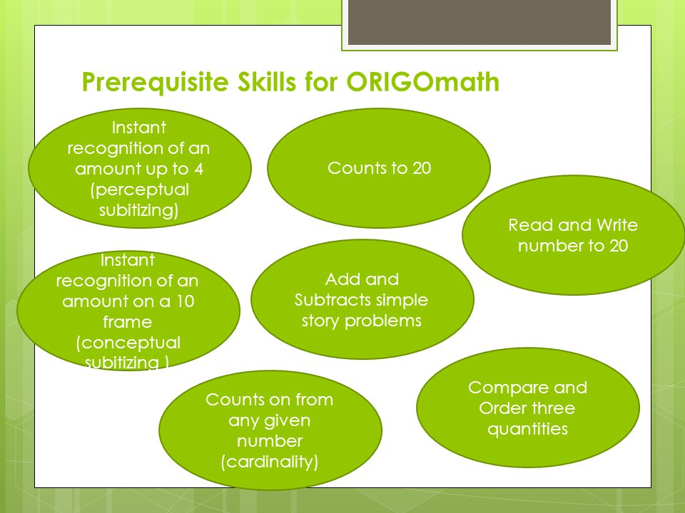 Prerequisite Skills for ORIGOmath