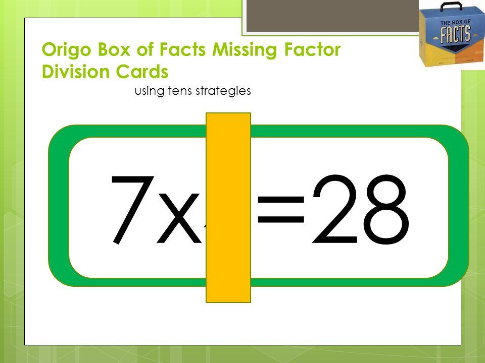 Origo Box of Facts Missing Factor Division Cards