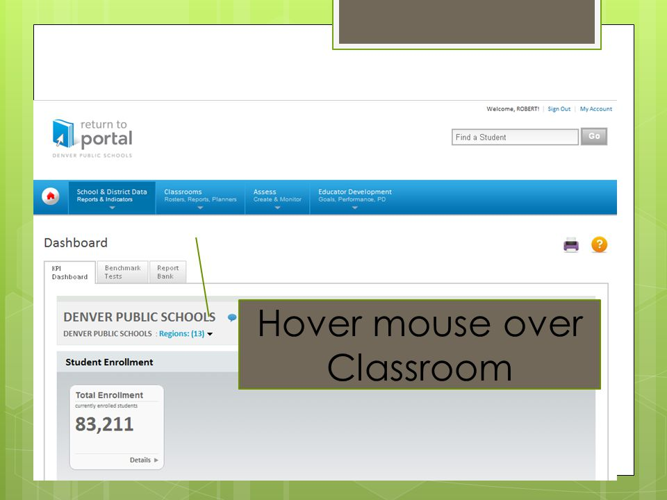 Hover mouse over Classroom