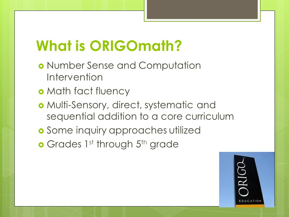 Origo Math Specially Designed Instructional Tool For Students With Concerns In Mathematics