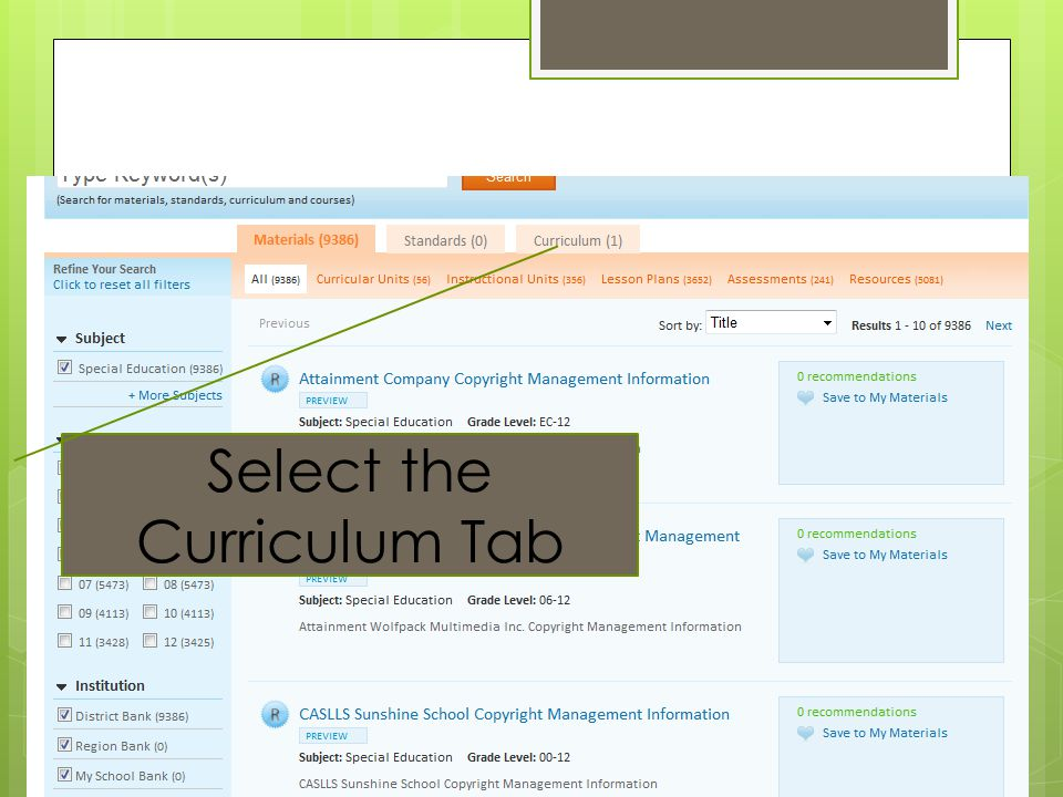 Select the Curriculum Tab