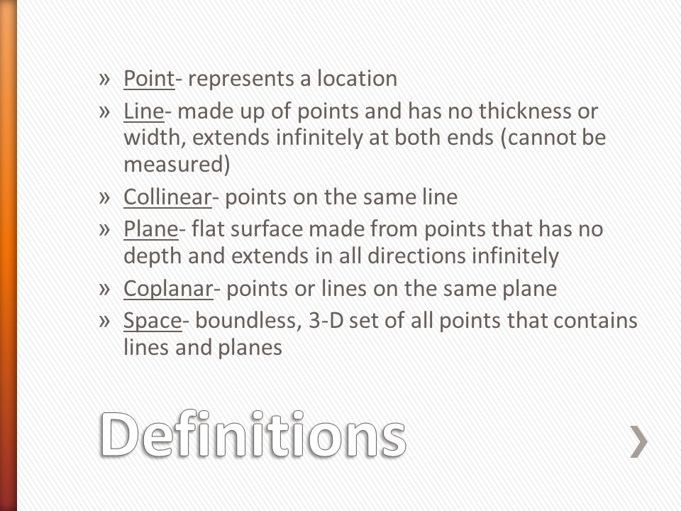 Definitions Point- represents a location