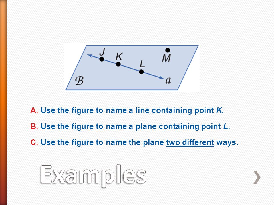 Examples A. Use the figure to name a line containing point K.