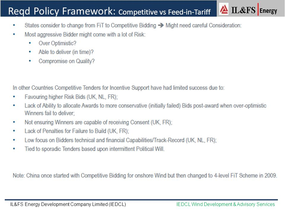 Reqd Policy Framework: Competitive vs Feed-in-Tariff