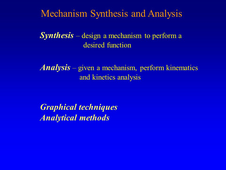Mechanism Synthesis and Analysis