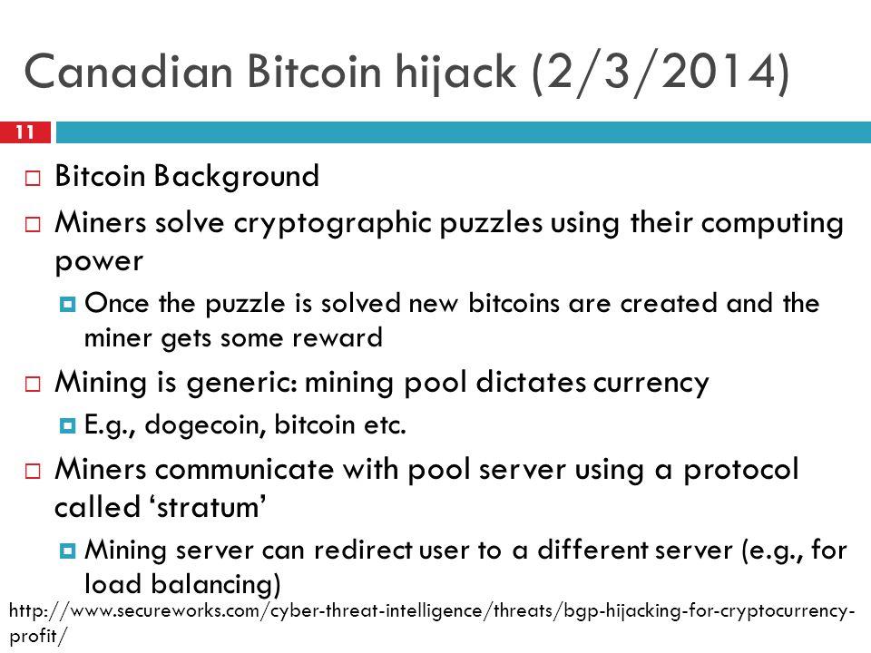 Canadian Bitcoin hijack (2/3/2014)
